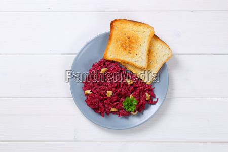 fresh beetroot spread with toast