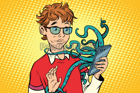 teen and octopus in the smartphone