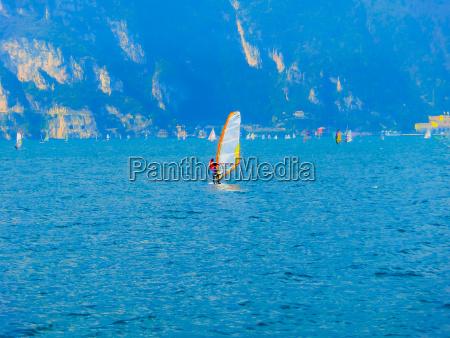 torbole a windsurfing on lake garda