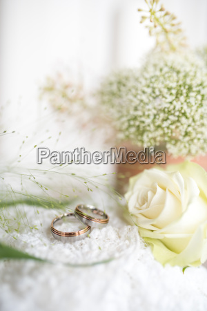 decoration with wedding rings and a