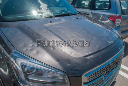 hail damage to a car