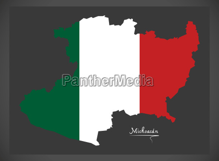 michoacan map with mexican national flag