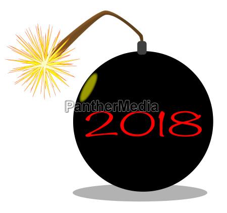 cartoon 2018 new year bomb