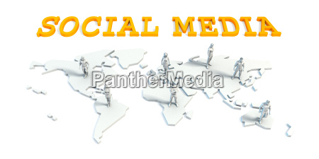 social media concept with business team