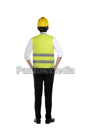 back view of asian worker wearing
