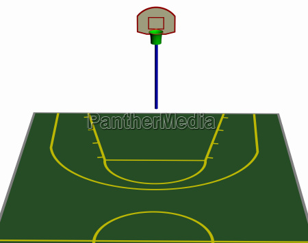 basketball field with throwing baskets exempted