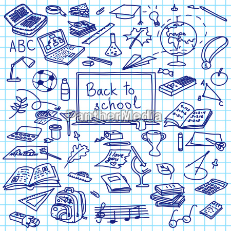 back to school hand drawn silhouettes