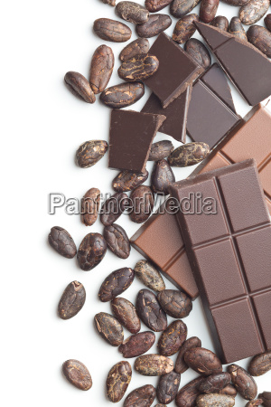 chocolate bar and cocoa beans