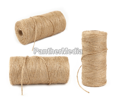 burlap jute twine coil bobbins isolated