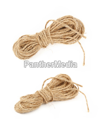 burlap jute twine coil skeins isolated
