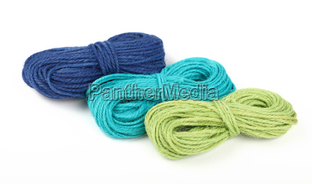 three jute twine coil skeins isolated