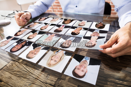 businessman making candidate selection for job