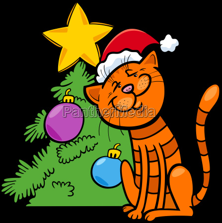 cat with christmas tree cartoon