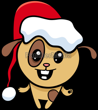 dog on christmas cartoon