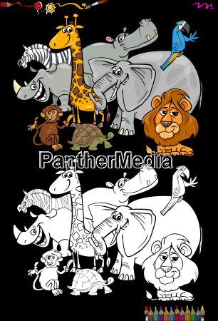 cartoon, safari, animals, coloring, book - 22643405