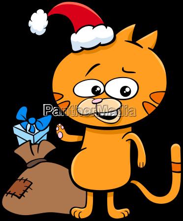 kitten, on, christmas, time, cartoon - 22643281