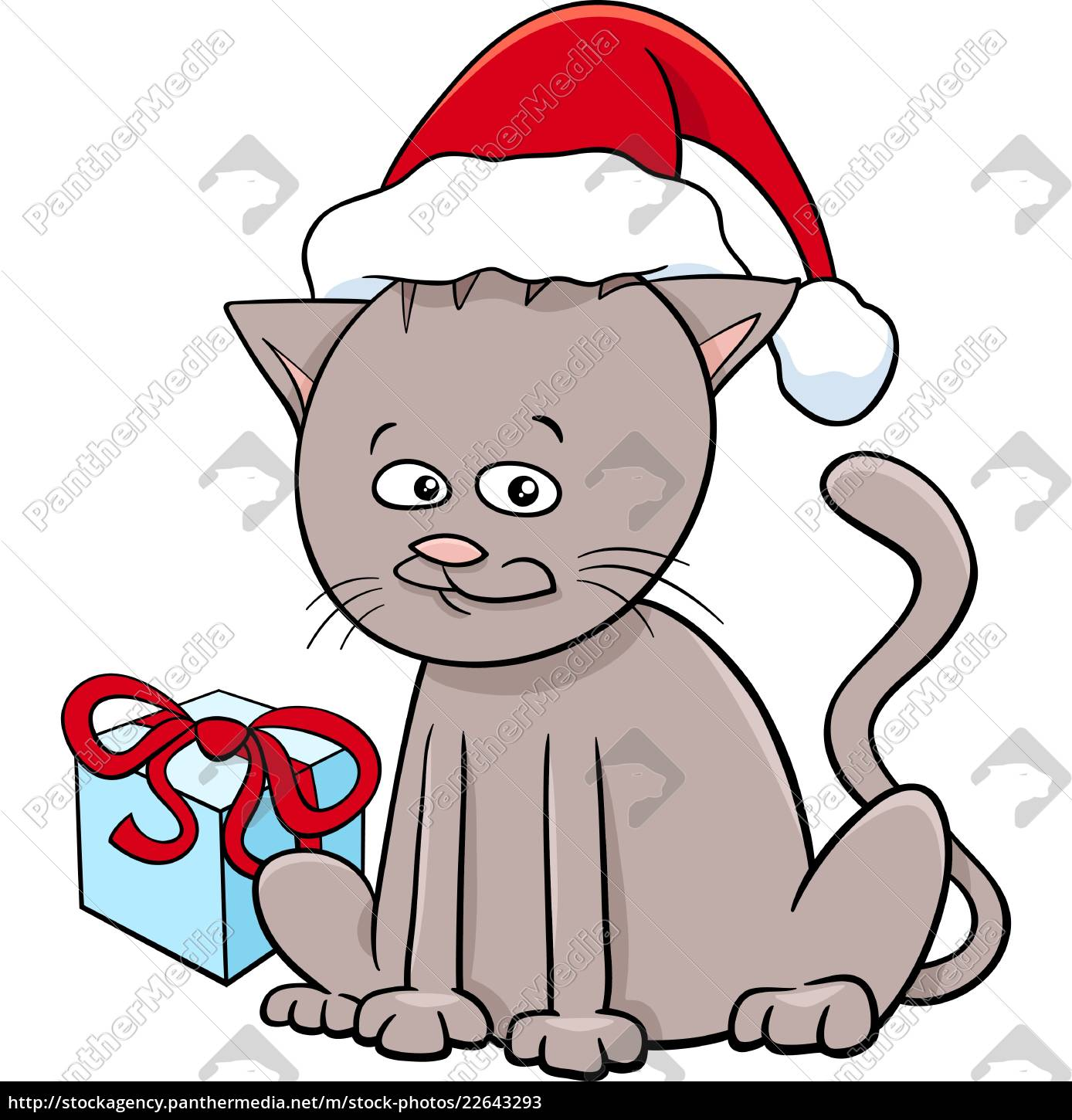 kitten, with, present, on, christmas - 22643293