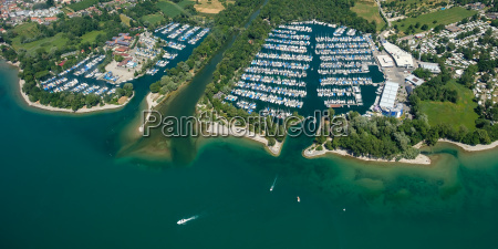 boats and marina at langenargen on