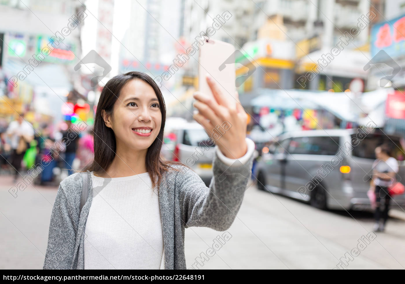 woman, having, selfie, with, cellphone, in - 22648191