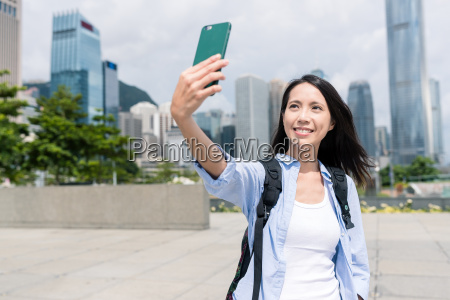 woman, take, selfie, with, mobile, phone - 22648297