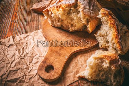 broken pieces of bread