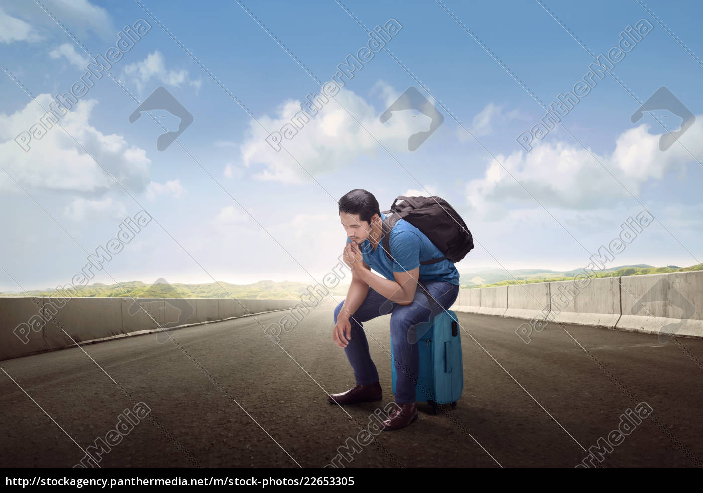 traveler, asian, man, sitting, on, suitcase - 22653305