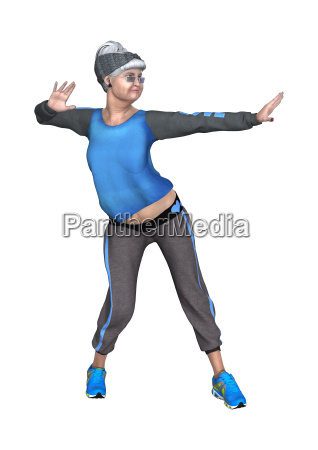 3d rendering senior woman dancing on