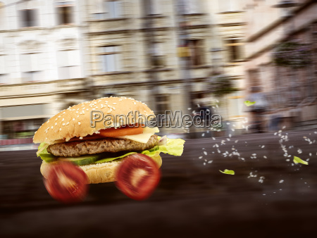 fastfood burger is delivered quickly