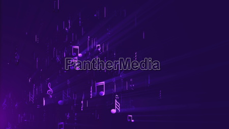 abstract background with music notes 3d