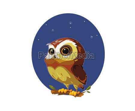 digital vector funny comic cartoon owl