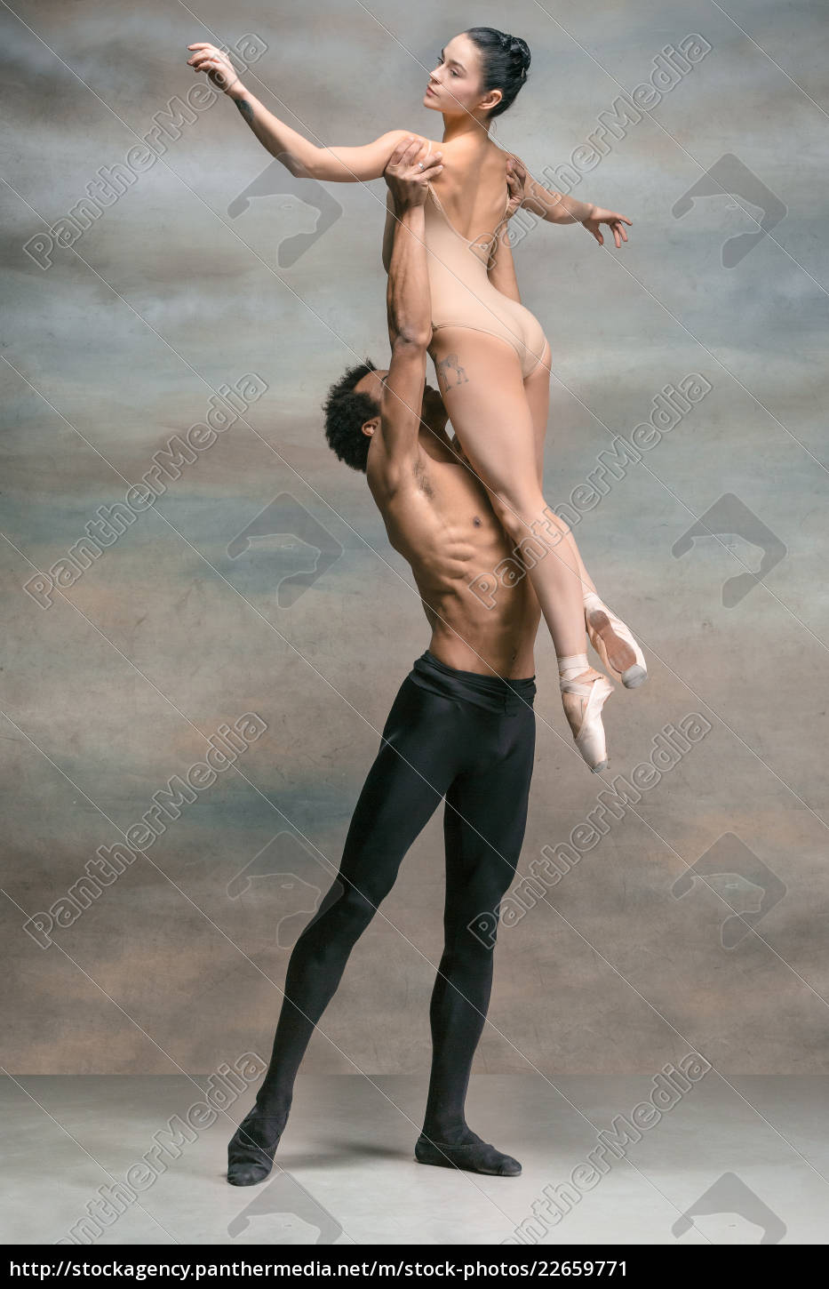 couple, of, ballet, dancers, posing, over - 22659771