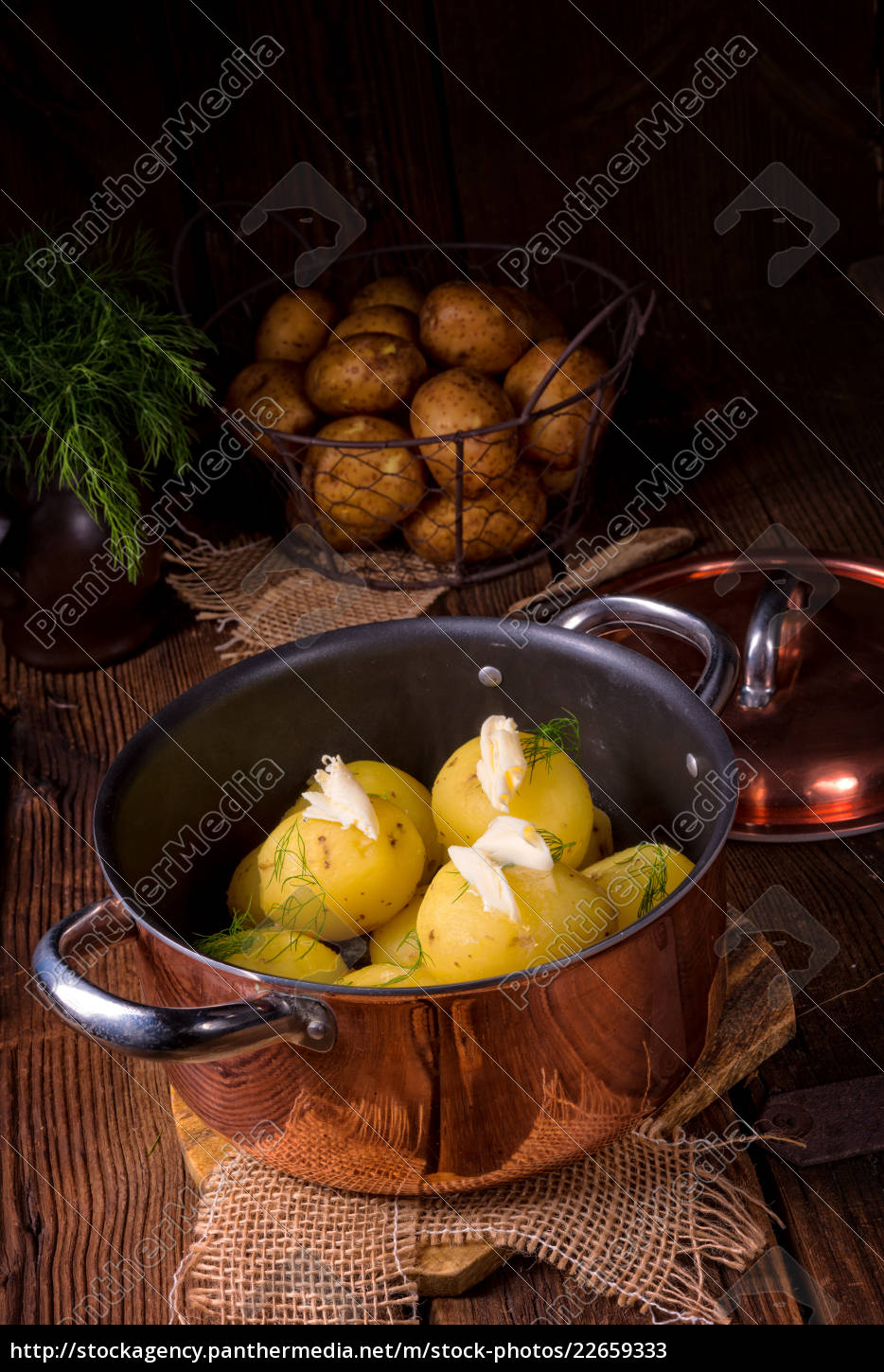 fresh, boiled, young, potatoes, with, butter - 22659333