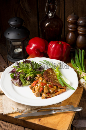 hungarian, goulash, with, potato, pancakes - 22659423