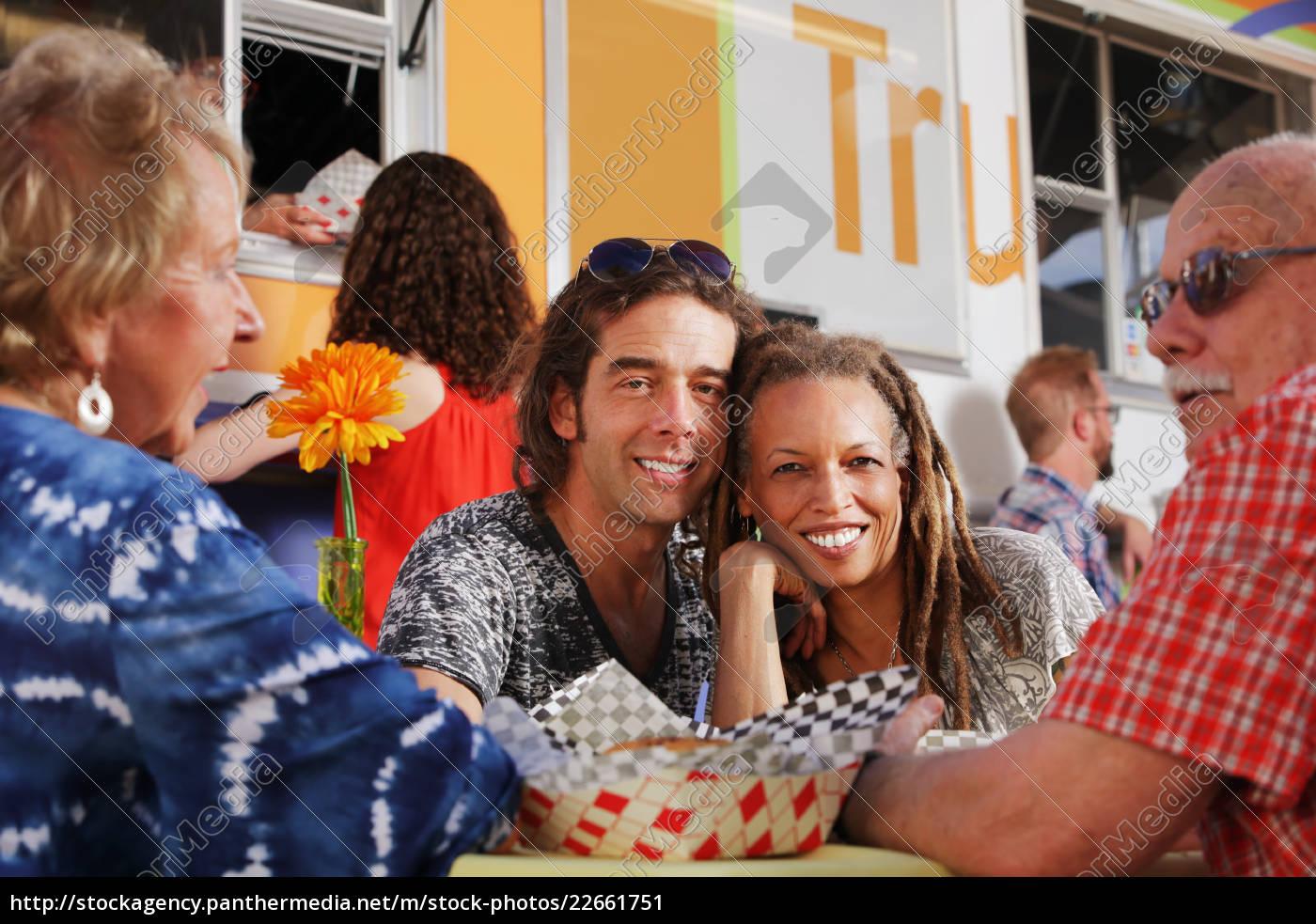 diverse, couple, enjoys, a, lunch, date - 22661751