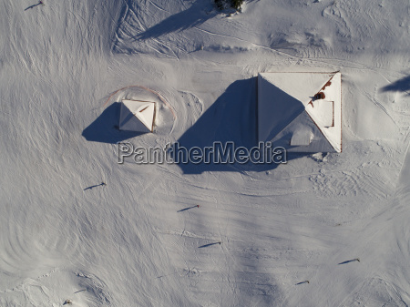 aerial view of roofs covered with