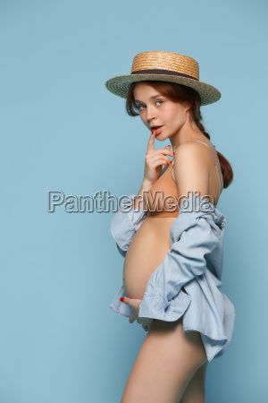 young, beautiful, pregnant, woman, standing, on - 22666165