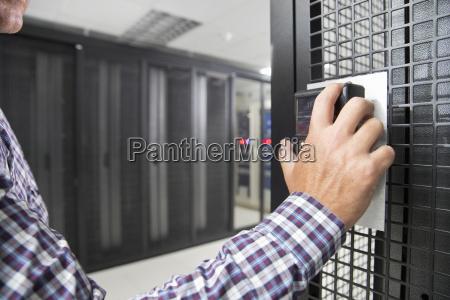 close up of technician using fingerprint