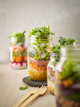 preserving jar of wheat salad with