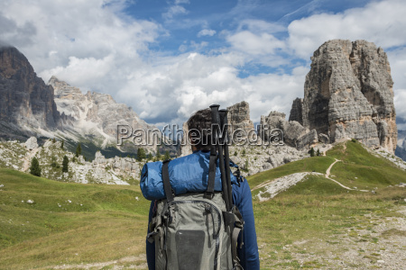 italy man trekking in the dolomtes