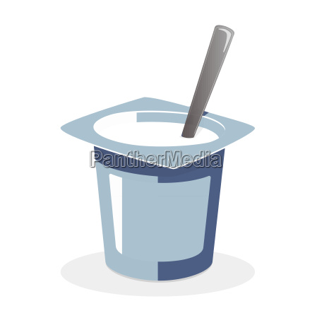 natural yogurt with spoon inside on