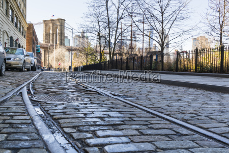 old rail tracks and cobbled street