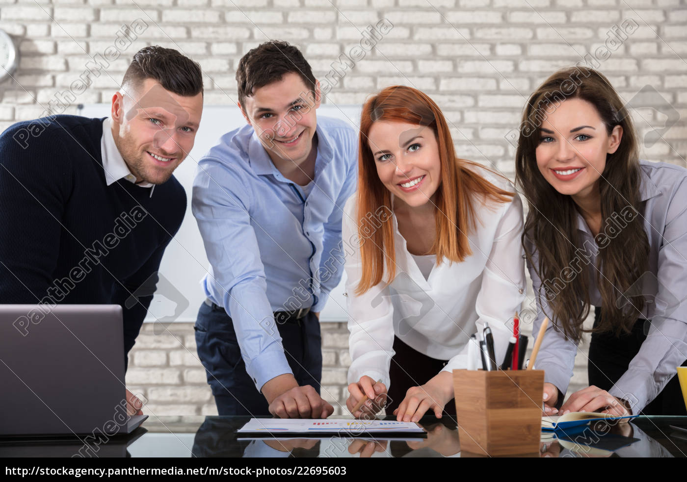 Royalty Free Image 22695603 Happy Business People Doing Work At Workplace