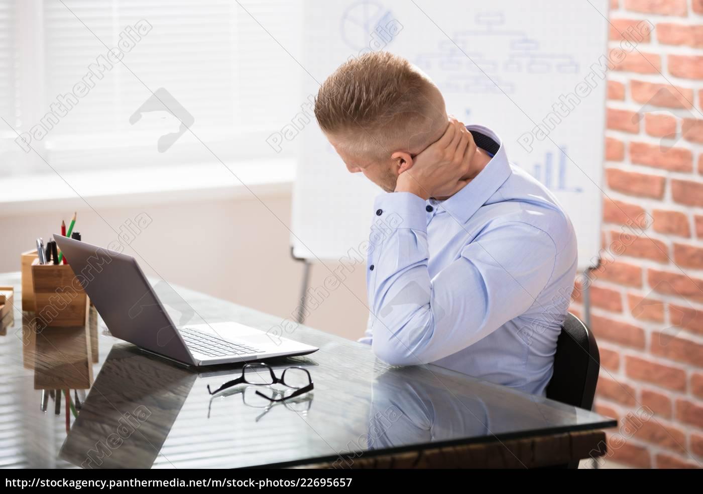businessman, having, neck, pain - 22695657