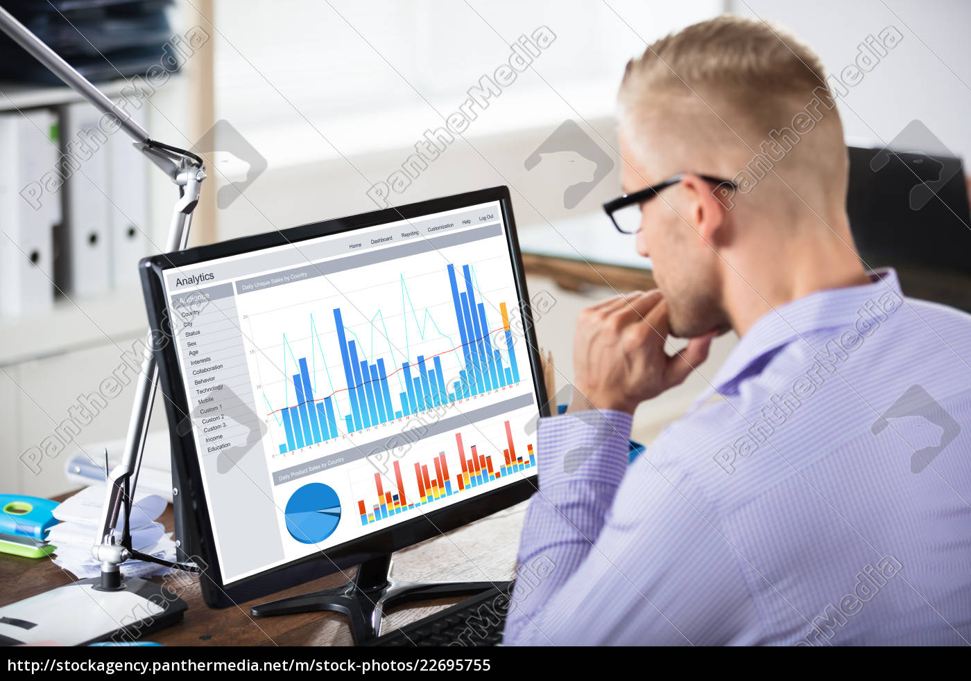 businessman, looking, at, graph, on, computer - 22695755