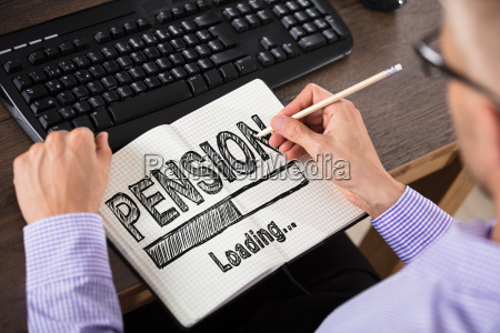 businessperson, drawing, pension, concept, on, notebook - 22695751