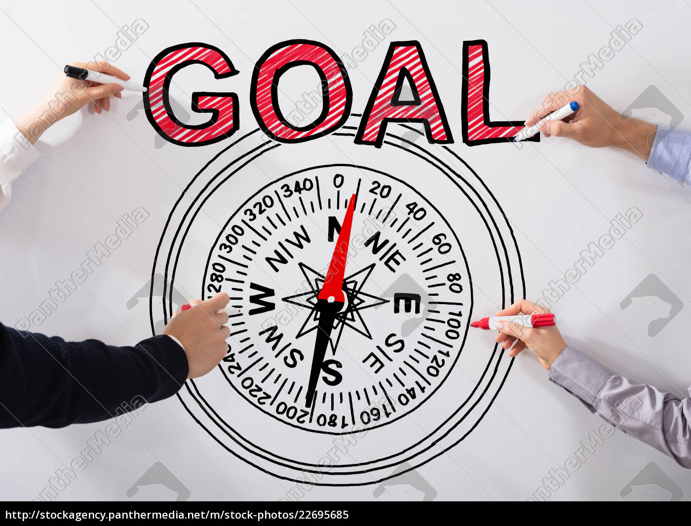 executives, drawing, goal, concept, on, whiteboard - 22695685