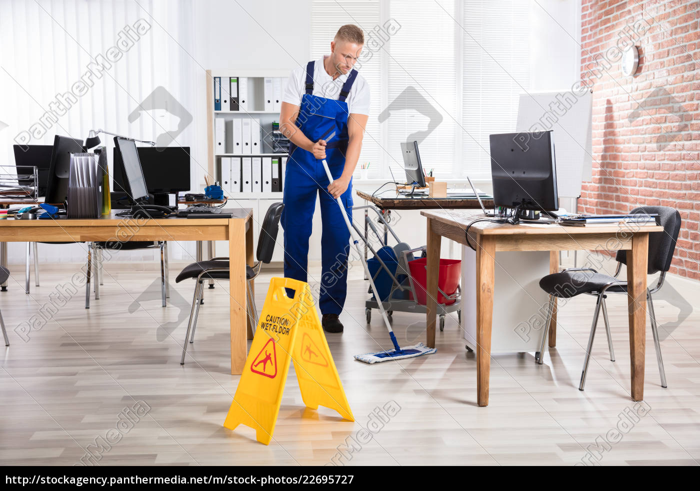 male, janitor, cleaning, floor, with, mop - 22695727