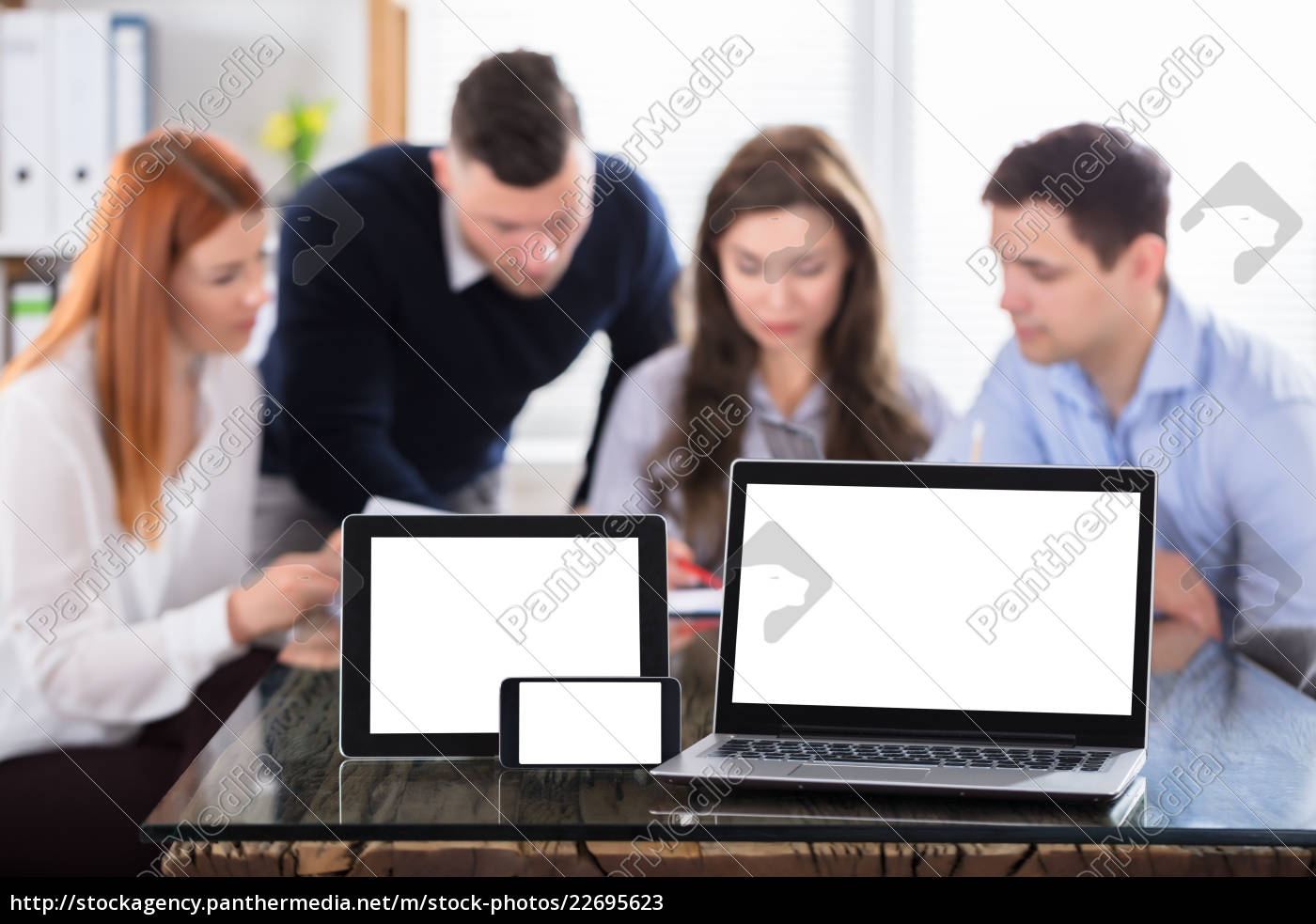 modern, electronic, devices, on, office, desk - 22695623