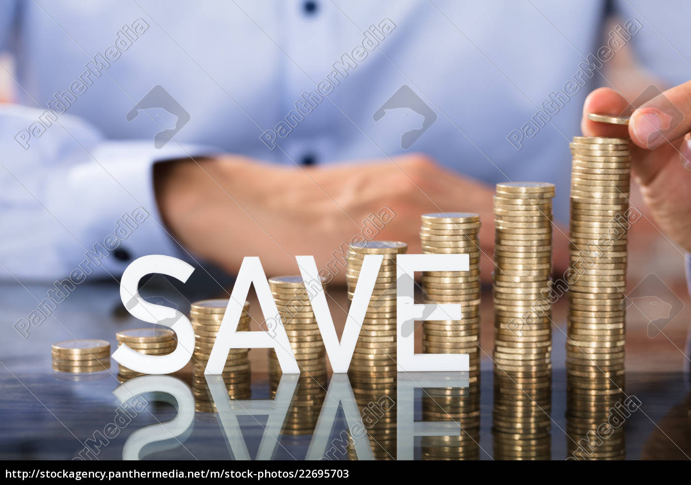 save, text, in, front, of, coins - 22695703