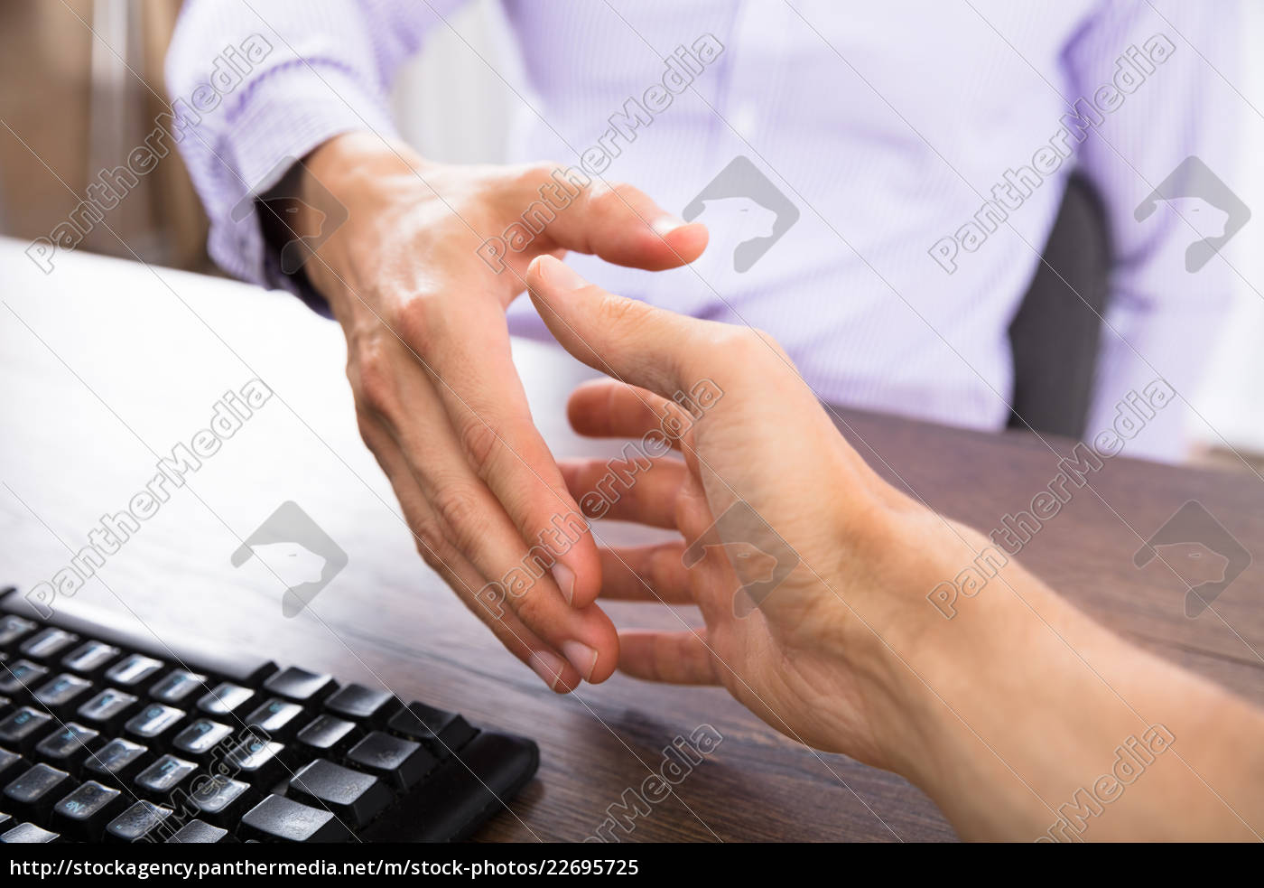 two, businesspeople, shaking, hands - 22695725